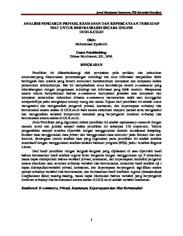 Pdf Jurnal Manajemen Pemasaran Feb Universitas Brawijaya