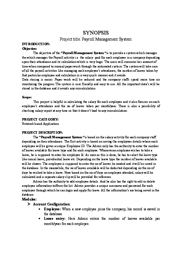 DOC) SYNOPSIS Project title: Payroll Management System