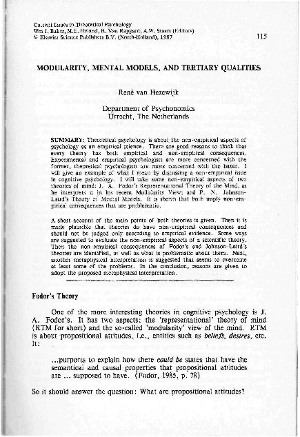 1985 Paper On Theory Of Mind >> Pdf Modularity Mental Models And Tertiary Qualities Rene