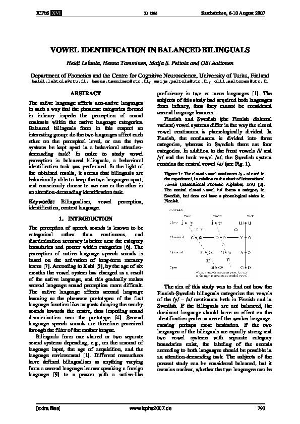 PDF) VOWEL IDENTIFICATION IN BALANCED BILINGUALS | Henna