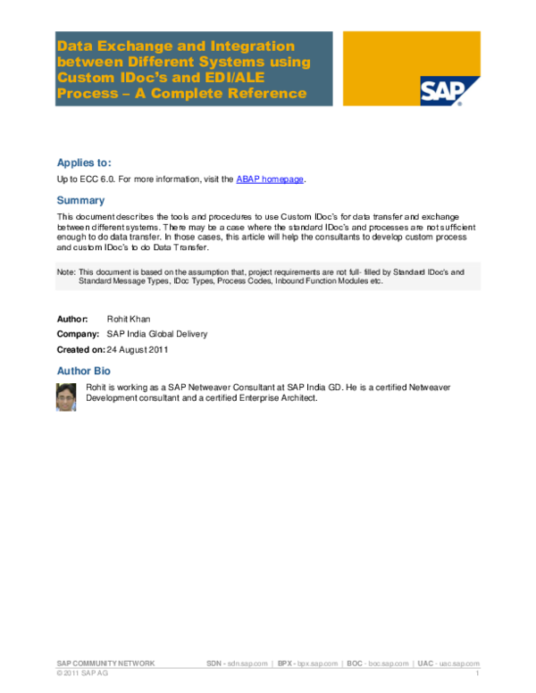 PDF) SAP COMMUNITY NETWORK Data Exchange and Integration