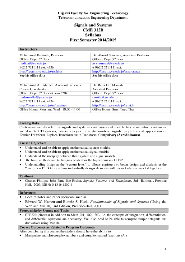 PDF) Signals and Systems CME 312B Syllabus First Semester