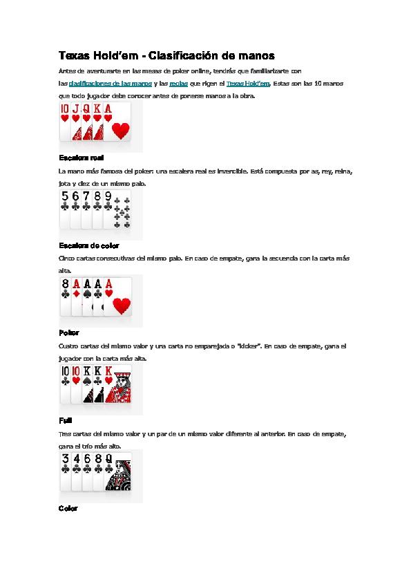 Doc Texas Hold Em Clasificacion De Manos Giovanni Menjivar Academia Edu