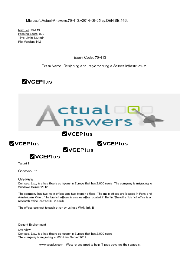 DOC) Microsoft Actual-Answers 70-413 v2014-06-06 by DENISE