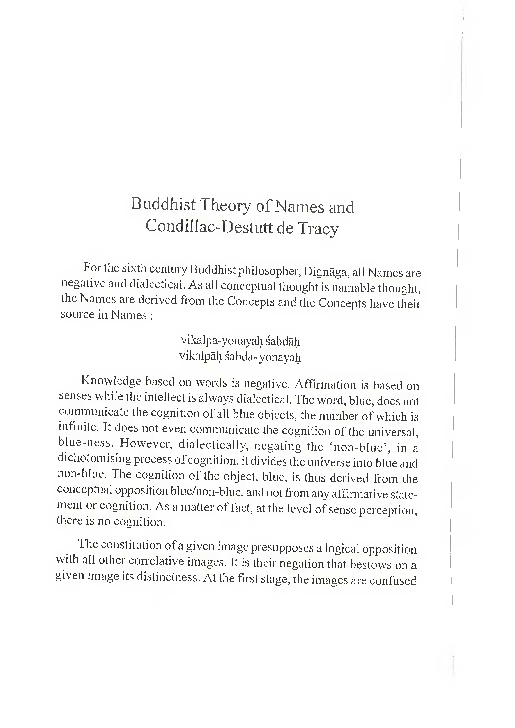 PDF) Buddhist Theory of Names and Condillac- Destutt de