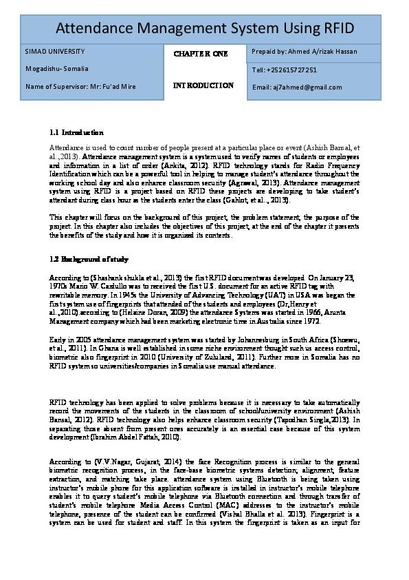 PDF) Attendance Management System Using RFID | ahmed aj