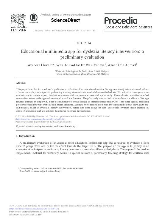 PDF) Educational Multimedia App for Dyslexia Literacy