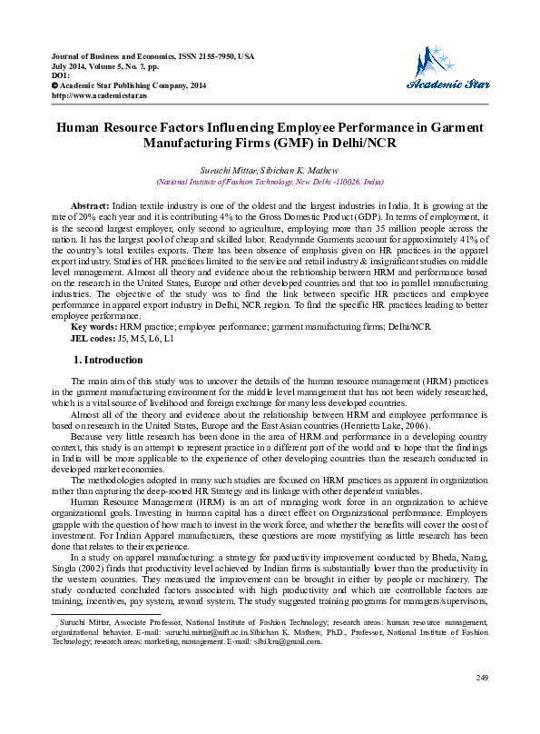 DOC) Human Resource Factors Influencing Employee Performance