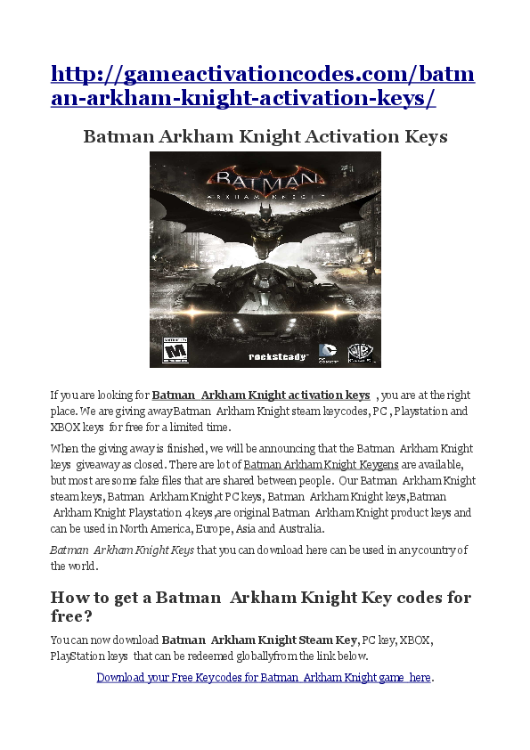 batman arkham city serial key and unlock code free download