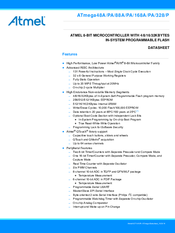 Atmega328p Datasheet Pdf
