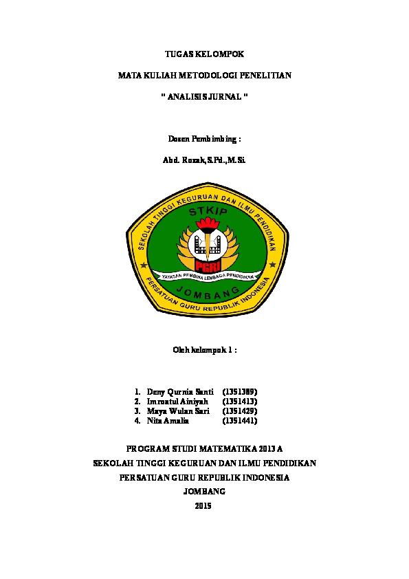 Doc Analisis Jurnal Kelompok 1 Samsul Arifin Academia Edu