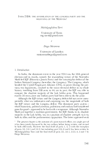 PDF) India in 2014: The Annihilation of the Congress Party