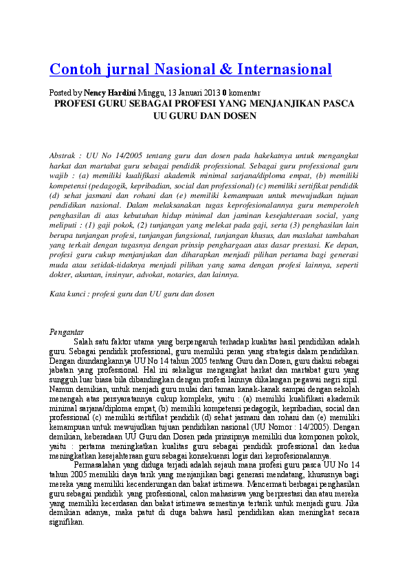 Doc Contoh Jurnal Nasional Internasional Arif Tama Academia Edu