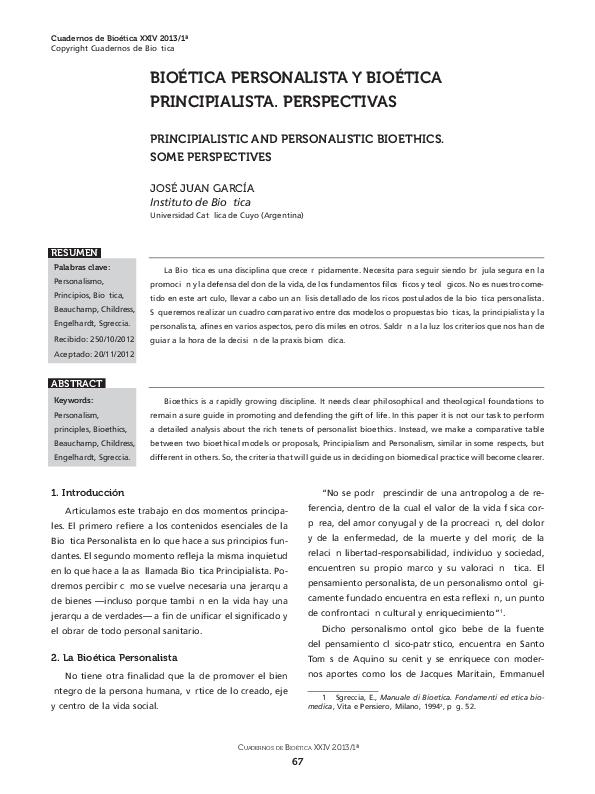 Pdf Bioetica Personalista Y Bioetica Principialista Perspectivas
