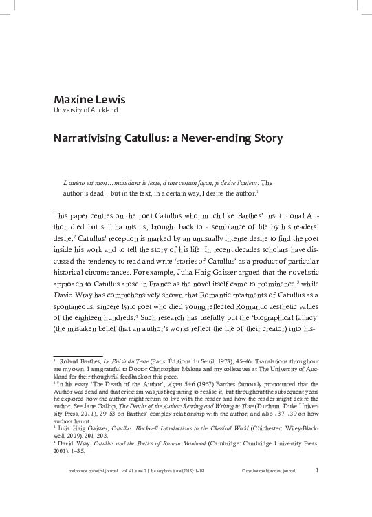 PDF) Narrativising Catullus: a Never-ending Story   Maxine Lewis