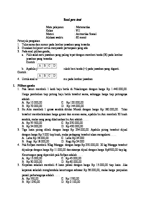 Contoh Soal Aritmatika Dan Jawabannya
