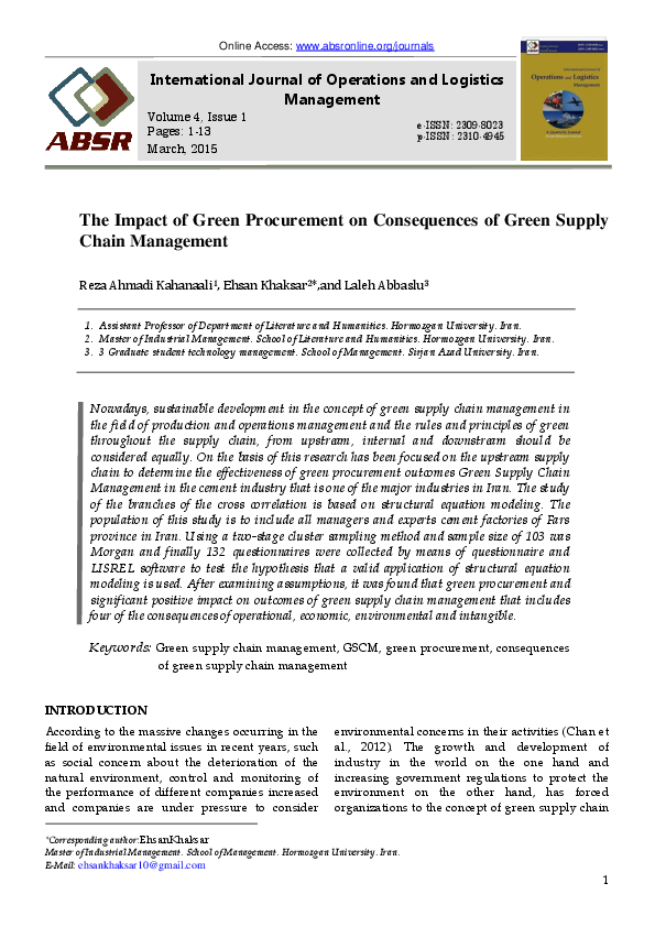 PDF) The Impact of Green Procurement on Consequences of