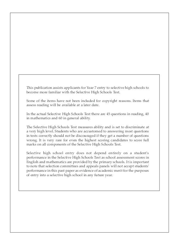 PDF) Selective School Maths Test Paper 2 | Mike Anthony - Academia edu