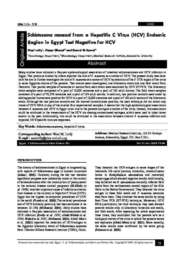 hepatitis c schistosomiasis