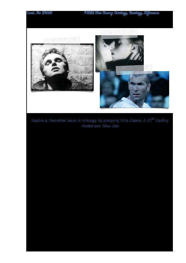 Pdf Ontology Of Film Zidane A 21st Century Portrait And Blow Job Violeta Marchenkova Academia Edu