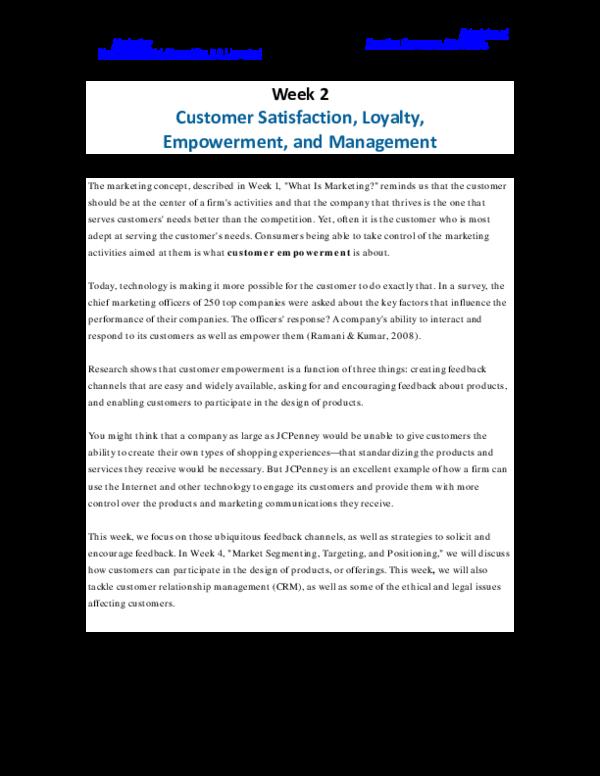PDF) Week 2 Customer Satisfaction, Loyalty, Empowerment, and
