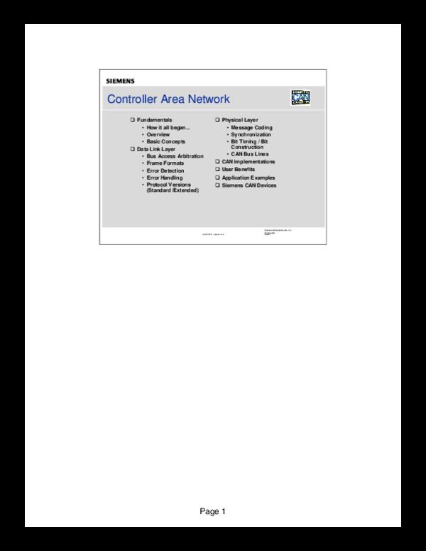PDF) Controller Area Network Controller Area Network