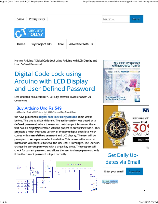 PDF) Digital Code Lock with LCD Display and User Defined