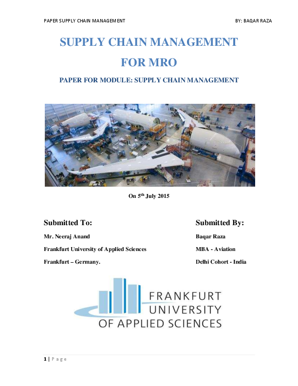 PDF) Supply Chain Management for Aviation MRO Industry