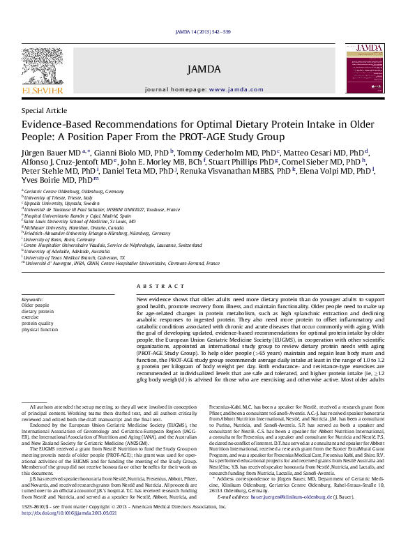 PDF) JAMDA PROT-AGE paper - reprint | John Morley and