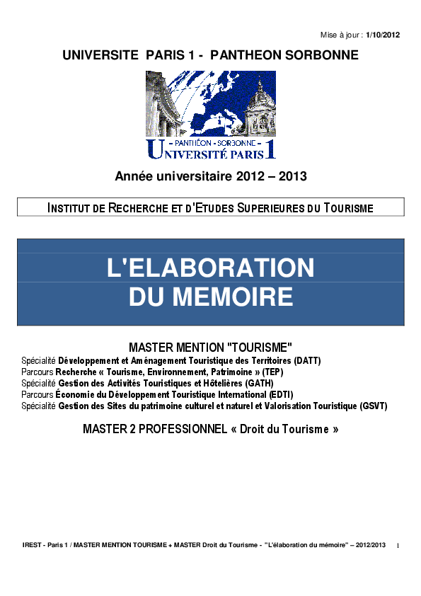 Pdf L Elaboration Du Memoire Master Mention Tourisme