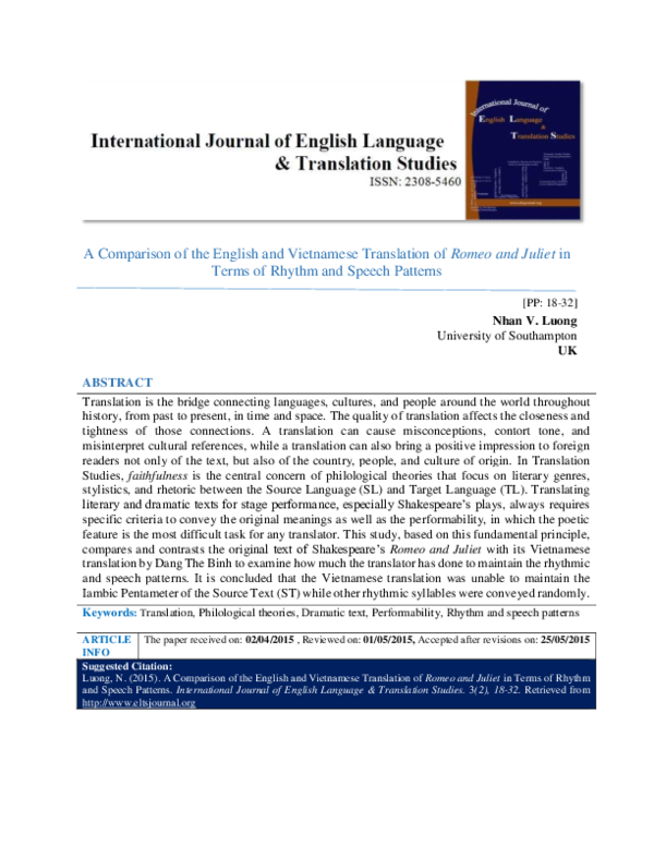 PDF) A Comparison of the English and Vietnamese Translation