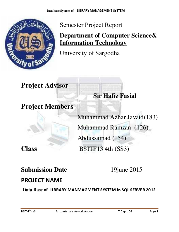 Library management system project pdf