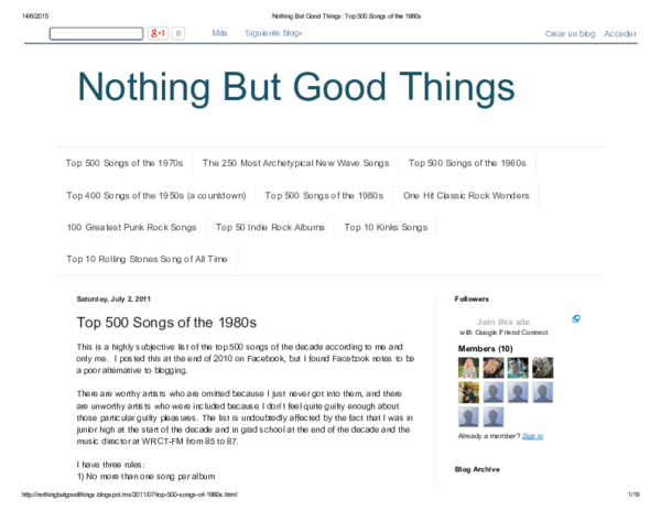 PDF) Nothing But Good Things Top 500 Songs of the 1980s