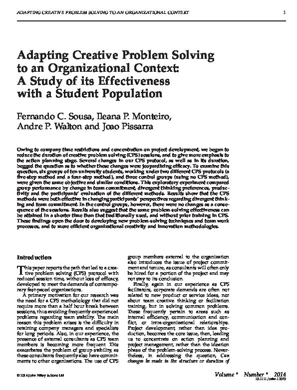 PDF) Adapting Creative Problem Solving to an Organizational
