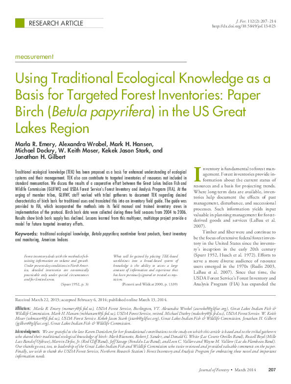 PDF) Emery et al 2014 Using traditional ecological knowledge