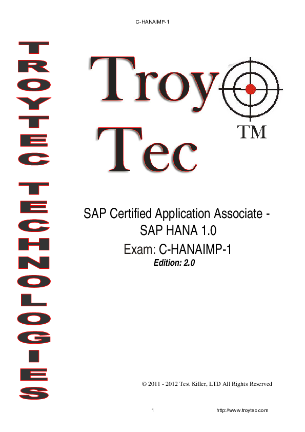 PDF) SAP Certified Application Associate -SAP HANA 1 0