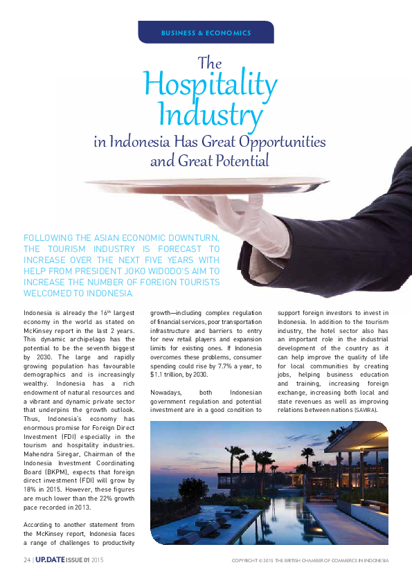 Pdf The Hospitality Industry In Indonesia Has Great Opportunities And Great Potential Savira Renadia Academia Edu