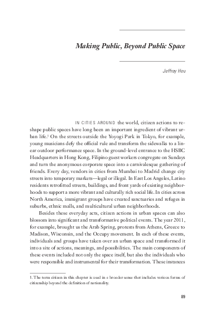 Making Public Beyond Public Space Jeffrey Hou Academia