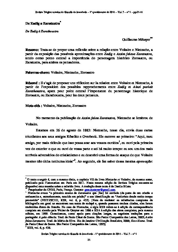 pdf  de zadig a zaratustra  tradu u00e7 u00e3o em portugu u00eas