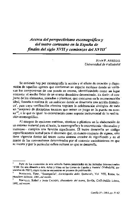 Pdf Acerca Del Perspectivismo Escenográfico Y Del Teatro