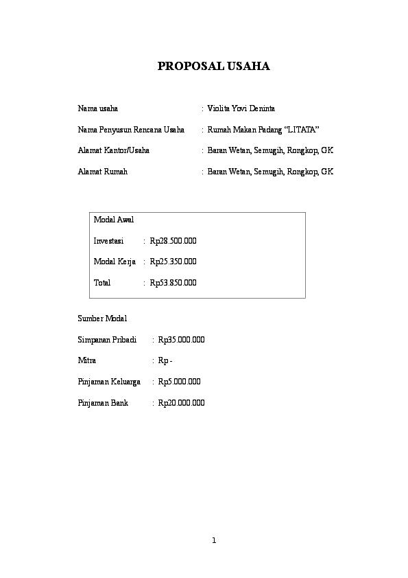 Doc Proposal Usaha Rumah Makan Padang Rudi Cahyadi Academia Edu