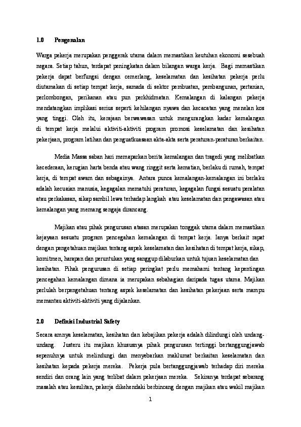 Doc Kerja Kursus Ete 101 Industrial Safety Muhammad Nur Haziq N Badrul Hisham Academia Edu