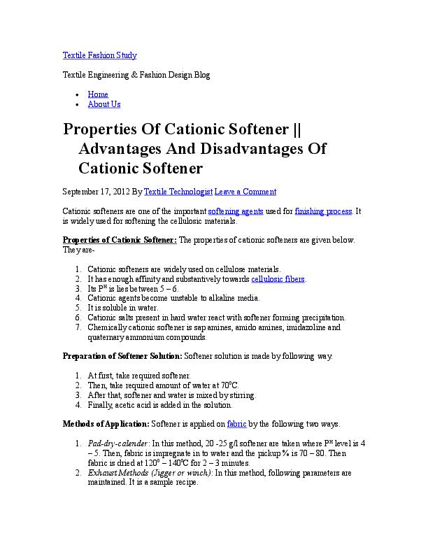 Doc Properties Of Cationic Softener Advantages And Disadvantages Of Cationic Softener Zakir Aslam Academia Edu
