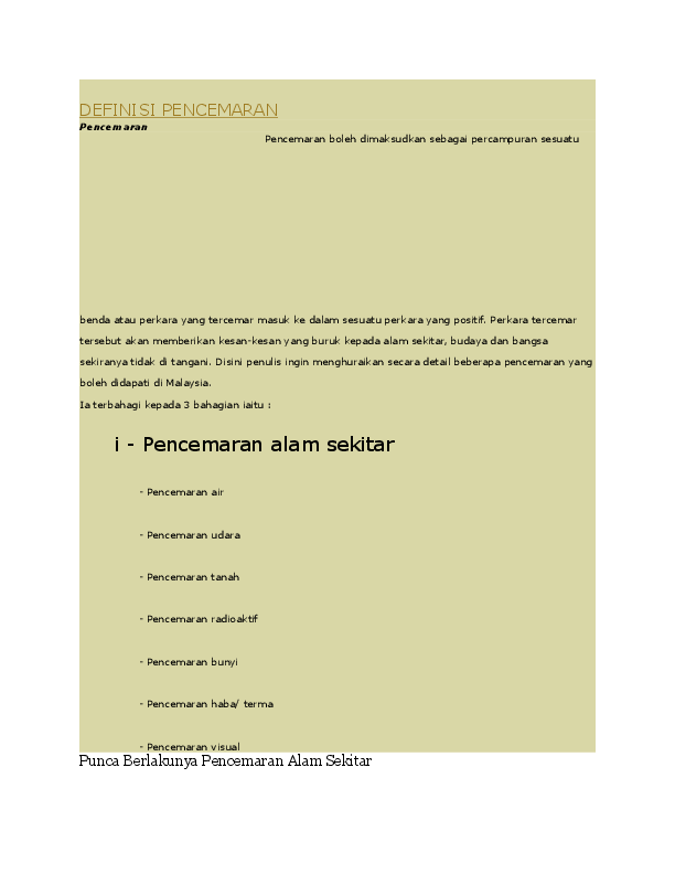 Doc Definisi Pencemaran Nurul Syazwani Che Zulkifli Academia Edu
