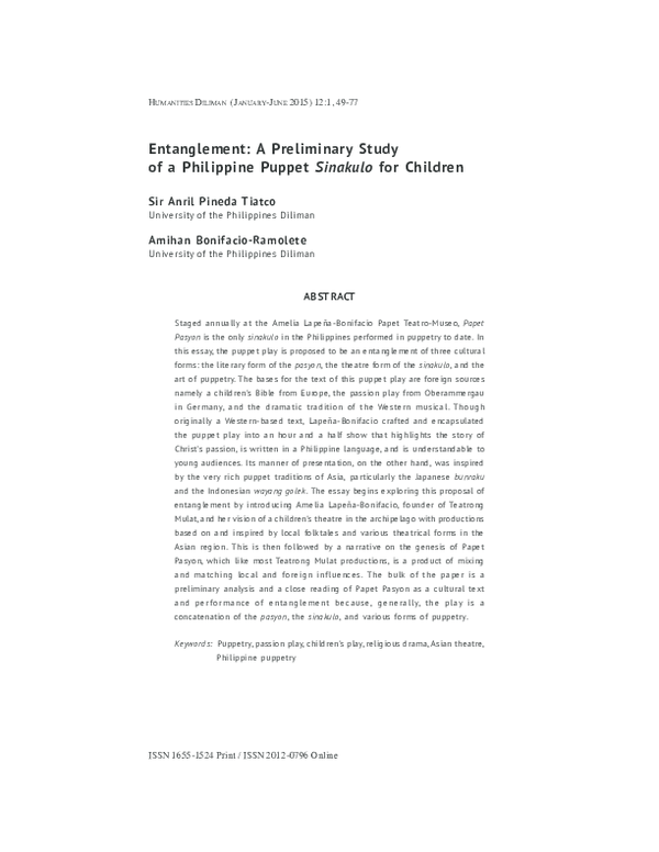 PDF) Entanglement: A Preliminary Study of a Philippine