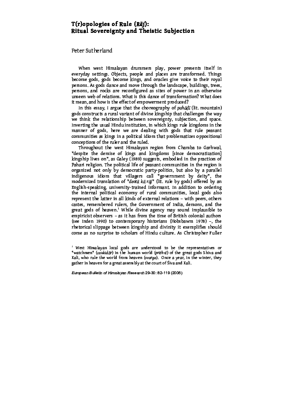 PDF) T(r)opologies of Rule (raj): Ritual Sovereignty and Theistic