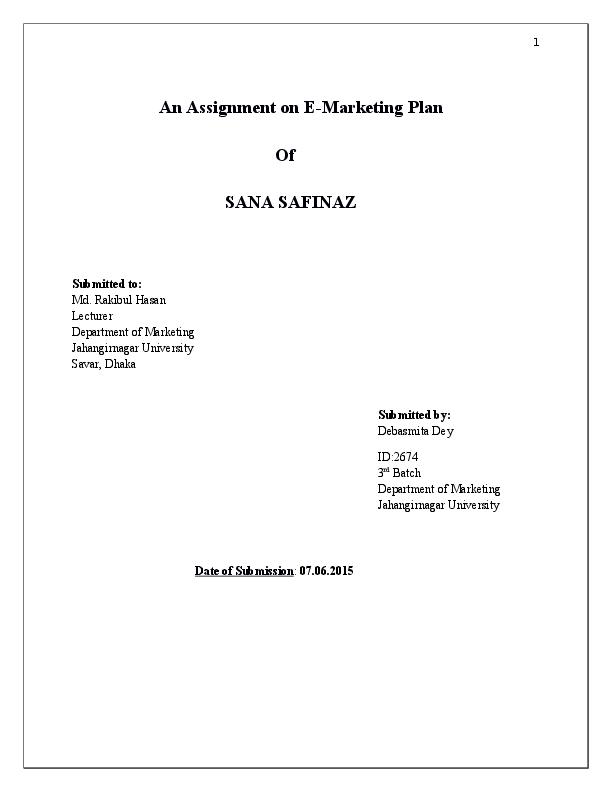 DOC) E-Marketing Plan- SANA SAFINAZ | Debasmita Dey - Academia edu