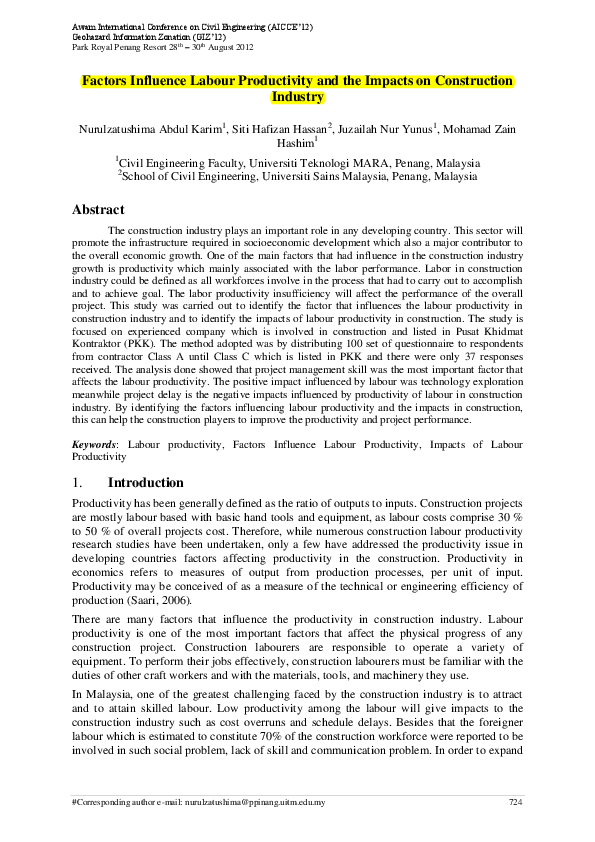 PDF) Factors Influence Labour Productivity and the Impacts on