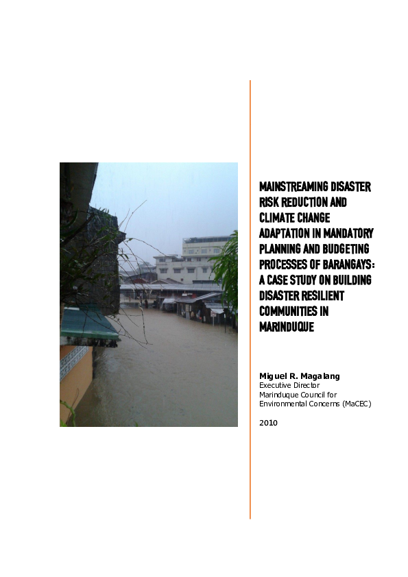 PDF) MAINSTREAMING DRR AND CCA IN MANDATORY PLANNING AND