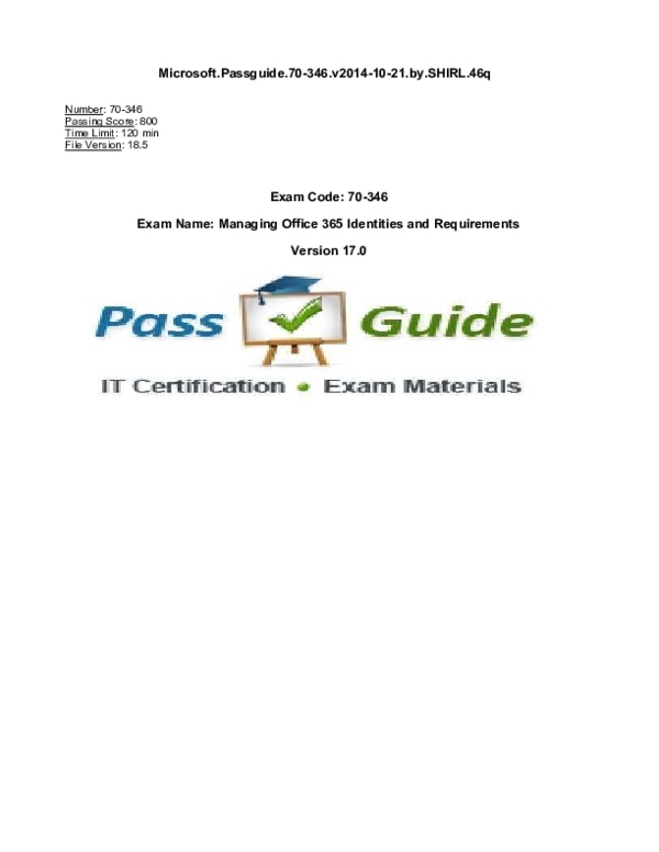 PDF) Exam Code: 70-346 Exam Name: Managing Office 365 Identities and